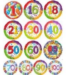 Age themed helium foil balloons